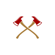 Crossed Firefighter Axes Symbol Logo Design