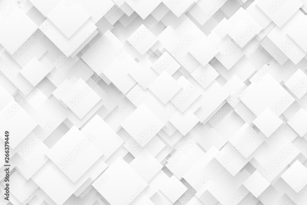 Abstract 3D Technology White Background In Ultra High Definition Quality. Technological Crystalline Structure Wallpaper. Blank Backdrop