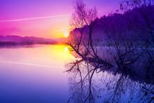 Magical Purple Sunrise Over Th...