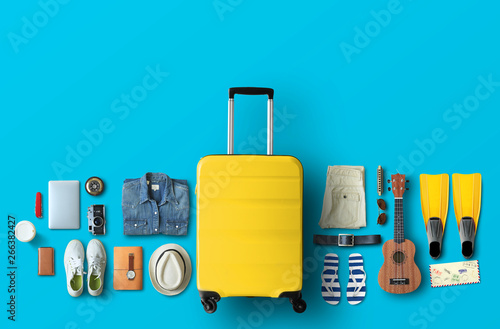 Yellow bag on the blue background Wallpaper Mural
