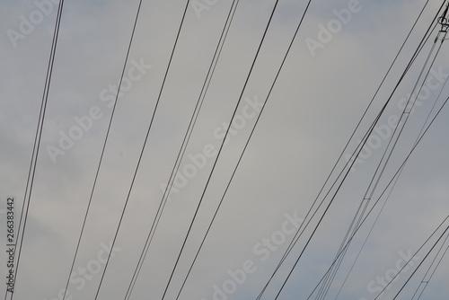 Montage in der Fensternische Darknightsky Power line transportation