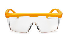Front View Of Yellow Plastic Safety Goggles