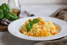 Risotto Vegan Made From Rice Carnarolli, Pumpkin, White Wine And Onion.