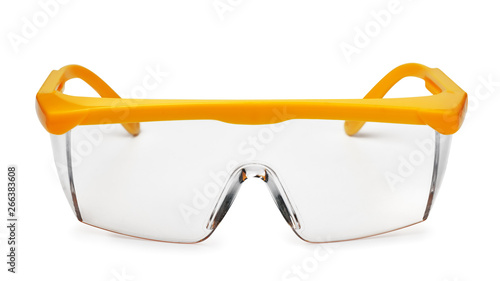 Fotomural  Front view of yellow plastic safety goggles