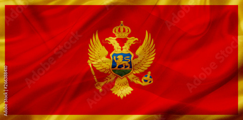 Fototapety, obrazy: Montenegro country flag on silk or silky waving texture