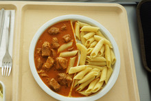 Goulash With Sauce And Noodles Served For Dinner On The Tray