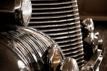 Classic Vintage Car Chrome Grille Old Car And Headlight Detail