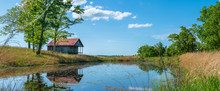 Rural Old House Barn Reflected On Pond Water, Panoramic View In Northwest Arkansas, Ozark Mountains, Beautiful Scenic View