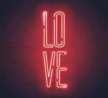 Neon Sign. Retro Neon Love Sign On Purple Background. Design Element For Happy Valentine's Day. Ready For Your Design, Greeting Card, Banner. Vector Illustration