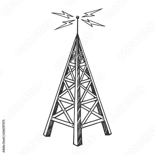 Fotografering Old vintage radio tower broadcast transmitter sketch engraving vector illustration