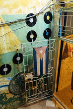 Cuban Flag And Old Records On ...