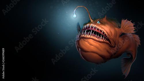 Fotografía Angler fish on background of dark blue water realistic illustration art