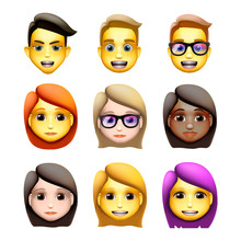 Characters Avatars In Cartoon Style, Emoji Icons, Animoji, Vector Illustration.