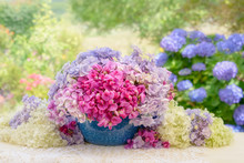 Bouquet Of Pink Vetch Vicia Flowers In A Blue Enamel Bowl With Hydrangea Blooms In A Country Garden