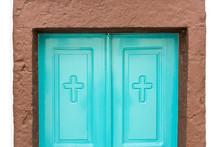 Orthodox Door In A Church Of Santorini