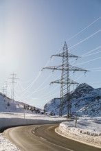 Power Transmission Lines In The Mountain