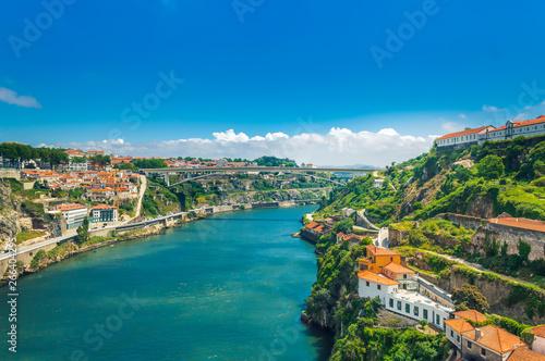 Porto, Portugal: Ponte Infante D Henriques bridge over Duoro river connecting Vi Fototapeta