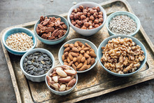 Food: Variation Of Nuts In Bowls