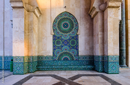 Sightseeing of Casablanca, Morocco. The Hassan II Mosque is the largest mosque in Morocco. Ornament on the wall, details of facade decoration