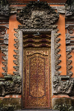 Beautifully Carved Wooden Door At Balinese Hindu Temple