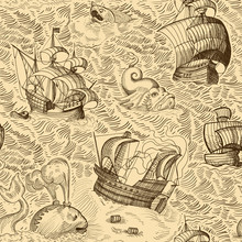 Old Ships And Monsters In Ocean. Vintage Map Drawing. Seamless Background