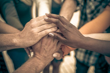 Young People Putting Their Hands Together. Friends With Stack Of Hands Showing Unity And Teamwork – Image