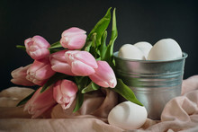 Pink Tulips And Basket With Eggs