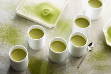 Matcha Pudding Cup, A Sense Of Design Arranged In The Marble Tabletop