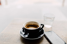 Close Up Of Black Coffee Cup A...