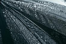 Black Umbrella Under Heavy Rain