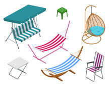 Isometric Garden Swings Isolated On White Background. Place For Outdoor Recreation. Set Of Garden Swings