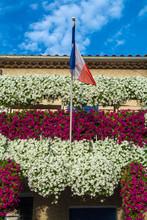 French National Flag On Old Bu...