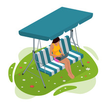 Isometric Girl With A Laptop Sitting On The Garden Swing. Place For Outdoor Recreation Isolated On White Background.