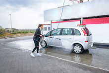 Young Woman Washing Herself A ...