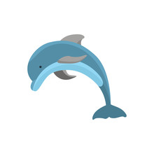 Cartoon Character Funny Dolphi...