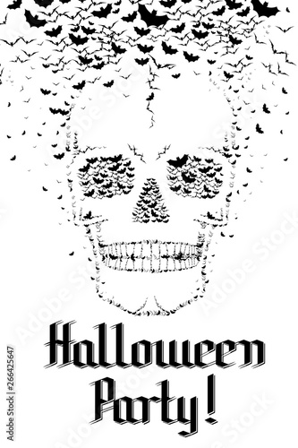 Skull, bats - Halloween Party! - Buy this stock illustration