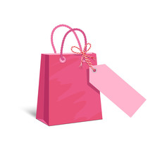 Pink Paper Shopping Bag With B...
