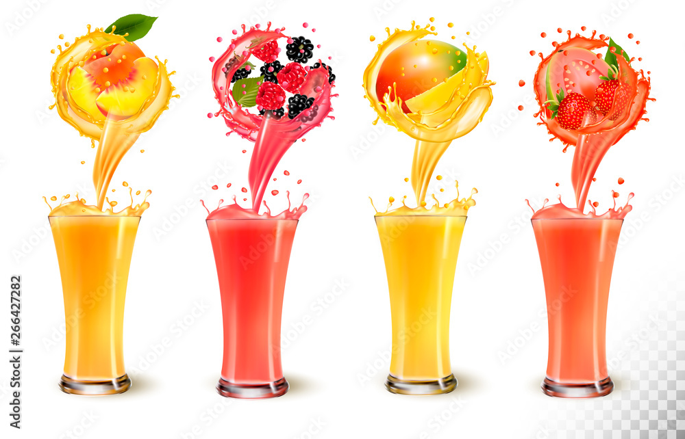 Fototapeta Set of fruit juice splash in a glass. Strawberry, peach, raspberry, mango, blackberry and guava. Vector