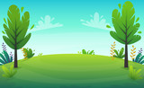 green grass barbeque grill at park or forest trees and bushes flowers scenery background , nature lawn ecology peace vector illustration of forest nature happy funny  picnic cartoon style landscape
