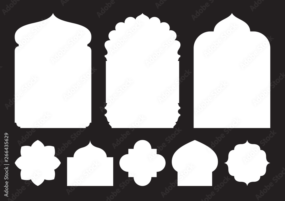 Fototapeta Set of oriental style windows and arches
