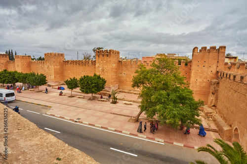 Fortress wall, road and pavement, Taroudant