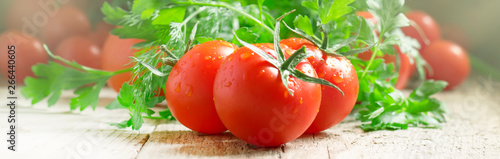 Poster de jardin Nature Red tomatoes and green herbs, close up, macro shot, banner, selective focus