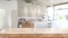 Wood Table For Product Display Montage In Blurred Cafe Background