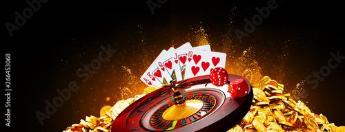 Illustration, Casino element isolation banner over colorful background Fototapet