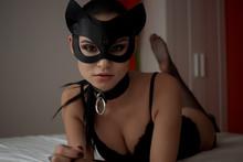 Brunette Girl In A Cat Mask