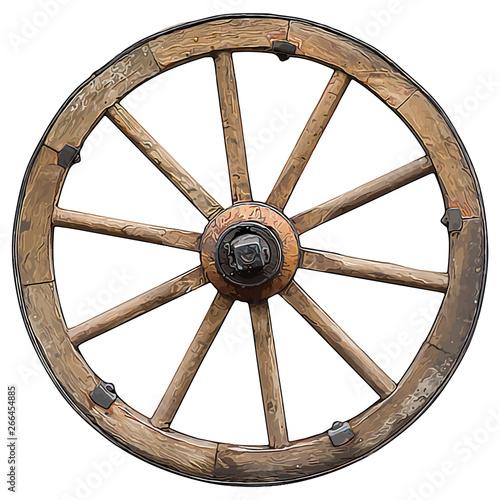 wooden vector cartoon style wheel isolated on white background. Fototapeta