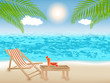 Summer and vacation time at colorful beach with palm tree and sea. Travelling and journey concept. Vector illustration.
