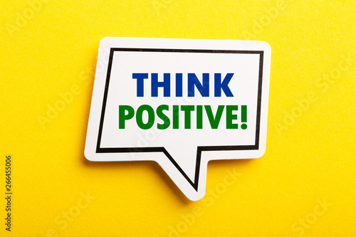 Think Positive Speech Bubble Isolated On Yellow Background Canvas Print