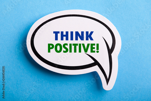 Think Positive Speech Bubble Isolated On Blue Background Wallpaper Mural