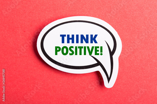Think Positive Speech Bubble Isolated On Red Background Wallpaper Mural